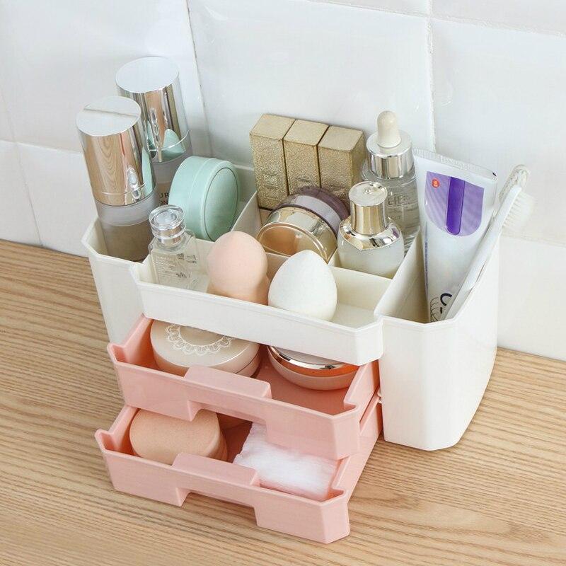 Home & Garden Bathroom Storage & Organization United Msjo Makeup Organizer Plastic Makeup Box 3 Lattices Jewelry Cosmetics Brush Storage Box For Office Desk Stationery Organizers