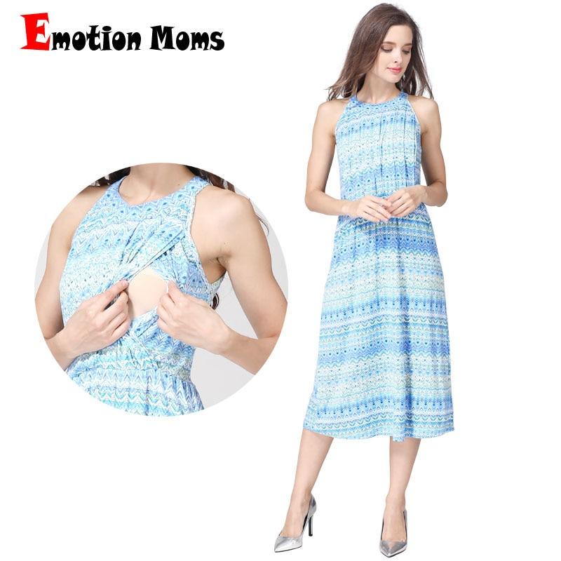 Emotion Moms Fashion Summer Maternity Clothes nursing Dress Breastfeeding Dress for Pregnant Women Maternity Dresses Soft Fabric