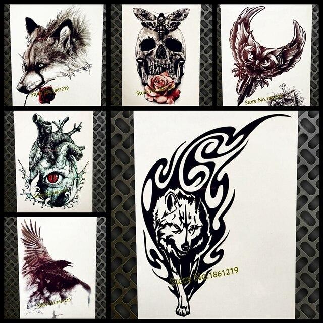 Tatuaje Temporal De Lobo Salvaje De Fuego Negro Para Hombres Mujeres