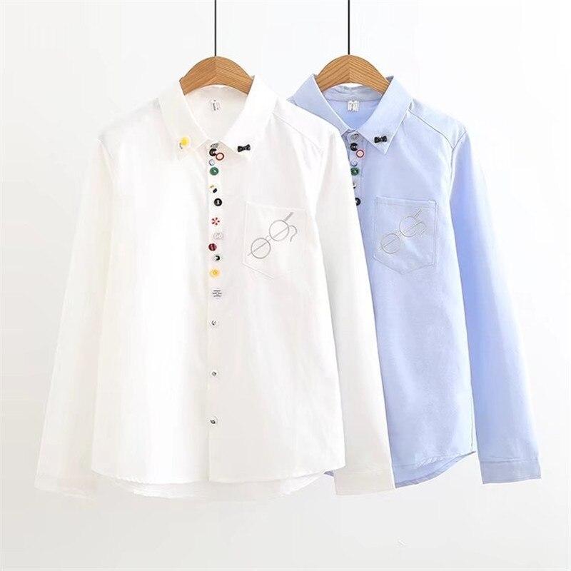 2018 Blusen Frauen Nettes Schule T-shirts Mädchen Blau Weiß Beiläufige Art Tops Weiblichen Baumwolle Langarm Herbst Frauen Blusas Zy4235