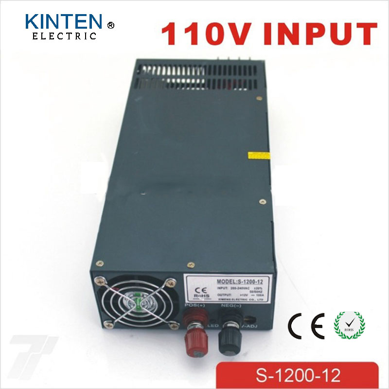 1200W 12V 100A adjustable 110V input Single Output Switching power supply for LED Strip light AC to DC 1200w 36v 33 3a adjustable 110v or 220v input single output switching power supply for led strip light ac to dc