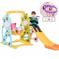 3 In 1 Teddy Bear Swing Slide and Basketball Indoor Mini Playground Toys for Boys Gymnastics Gifts Girl