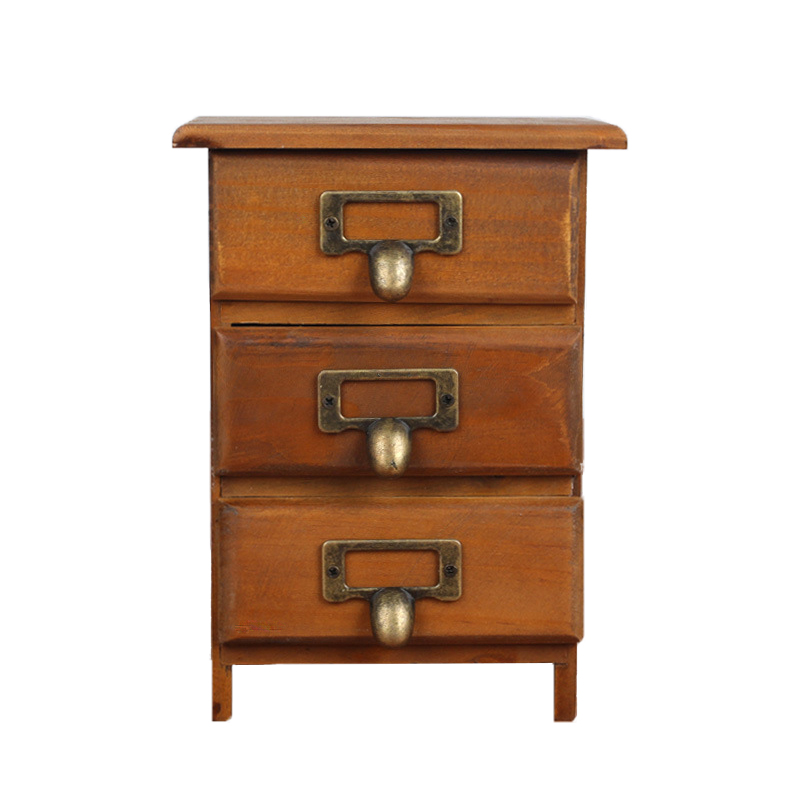New 3 Layers Retro Storage Shelf Small Wooden Cabinet Drawers Case Solid Antique Box With Zinc Handles In Holders Racks