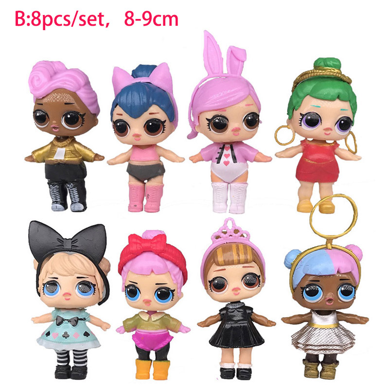 8pcs / 6pcs Cartoon LOL Dolls Cute Baby Glitter Princess Dress Dolls Figures Action Toys Anime For Kid's Birthday Gift 6pcs set anime cartoon cute egg doraemon mini pvc action figure toys dolls 4 6cm of079
