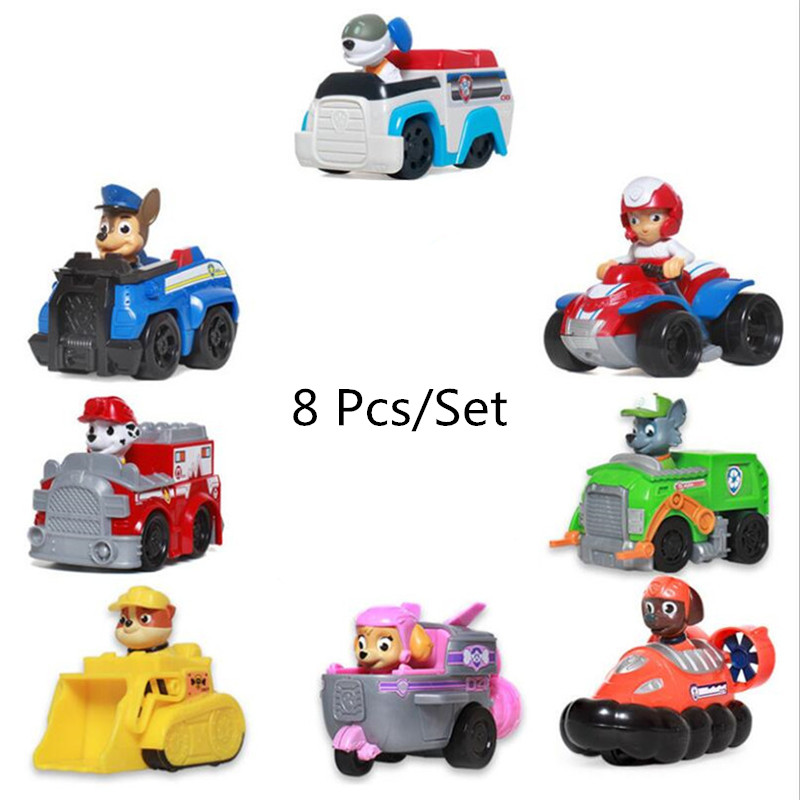8 Pcs/Set Paw Patrol Dog Puppy Anime Patrol Car Toy Action Figure Model  Patrulla Canina Children Toys Birthday Gifts
