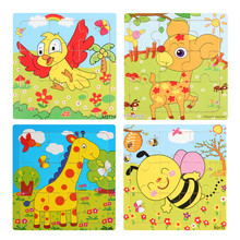 Educational 3D Wooden Toys Cartoon Animals Jigsaw Puzzles Kids Baby Games Toy Wood Children Puzzles Intelligence Development Toy