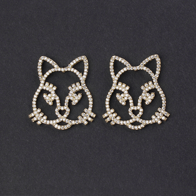 Latest Fashion Jewelry Famous Brand Gold Plated AAA Cubic Zirconia Pave CZ Animal Cat Stud Earrings for Girls