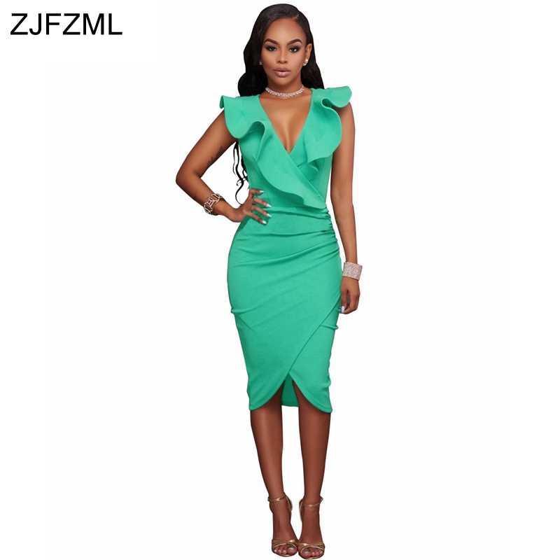 af06a6a5d6 ZJFZML 2018 Sleeveless V-Neck Sexy Party Dress Women Ruffle Front Zipper  Bodycon Dress Summer
