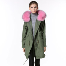 High quality Korean design fashion army green jackets for women Spring pink raccoon fur hooded coats