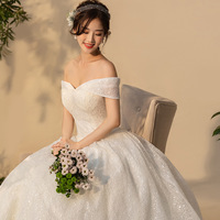 Beauty Emily 2019 Long Off The Shoulder Bride Wedding Dresses Short Sleeve Lace Tulle Ball Gowns Simple Plus Size Bridal Dresses