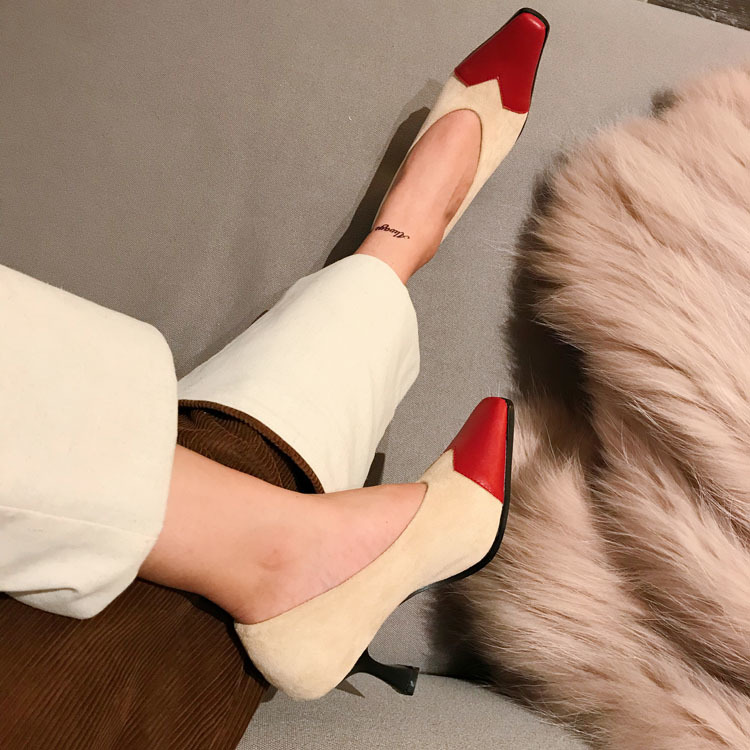 Alta Mujeres Zapatos Cuero Bombas Las F059 Negro apricot De Mujer La Moda Punta Tacón Boda 2019 Pu Encuentro Todo rojo Damas Delgada BF7qxwA