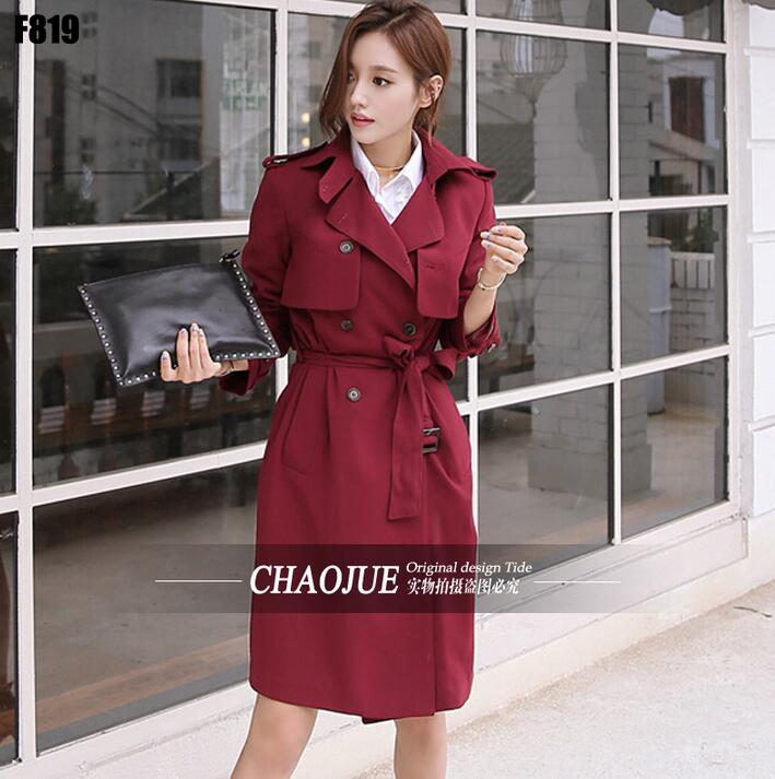Long-sleeve   trench   coats female 2019 spring and autumn fashion slim   trench   coat womens casual double breasted fashion red black