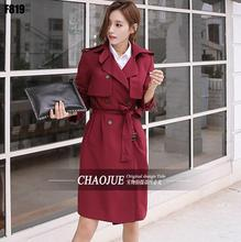 Long-sleeve trench coats female 2016 spring and autumn fashion slim trench coat womens casual double breasted fashion red black