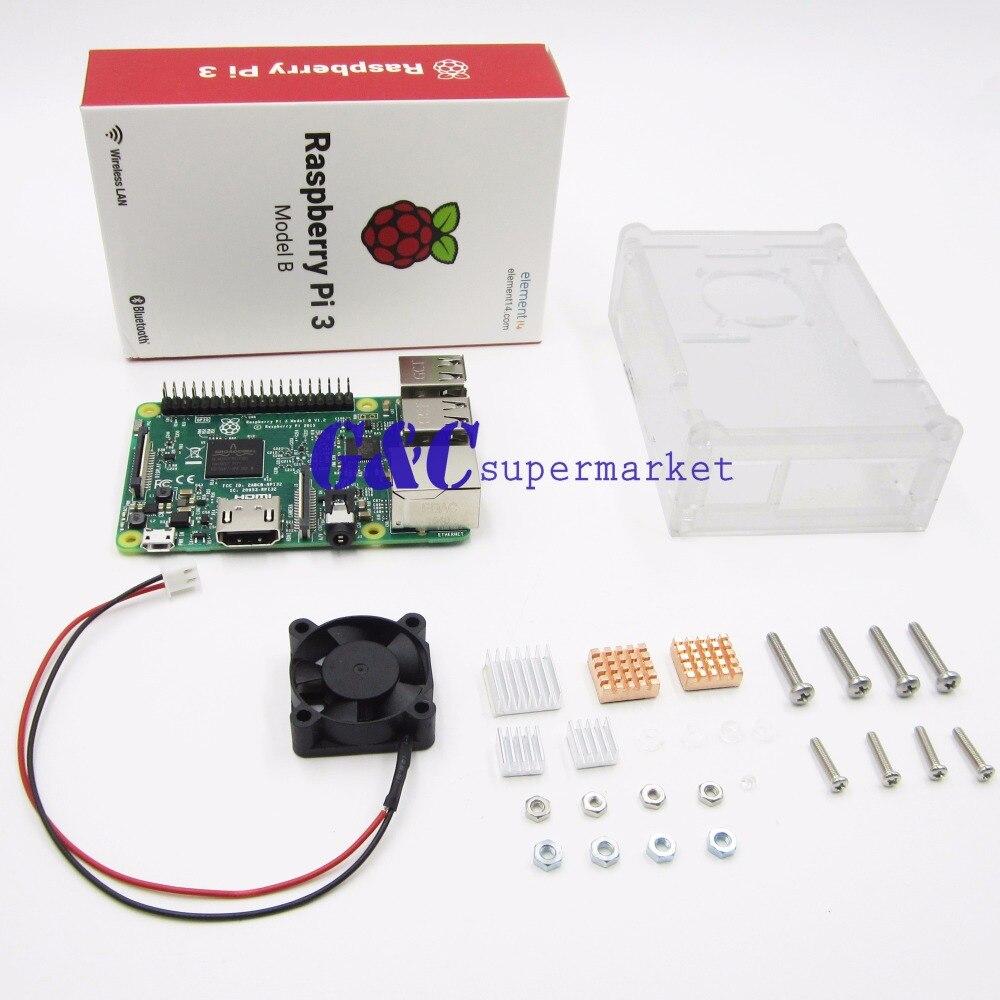 Pour Raspberry pi 3 kit de bricolage + pour Raspberry pi 3 transparent acrylique Boîte + mini ventilateur de refroidissement + 5 pièces En Aluminium Radiateur