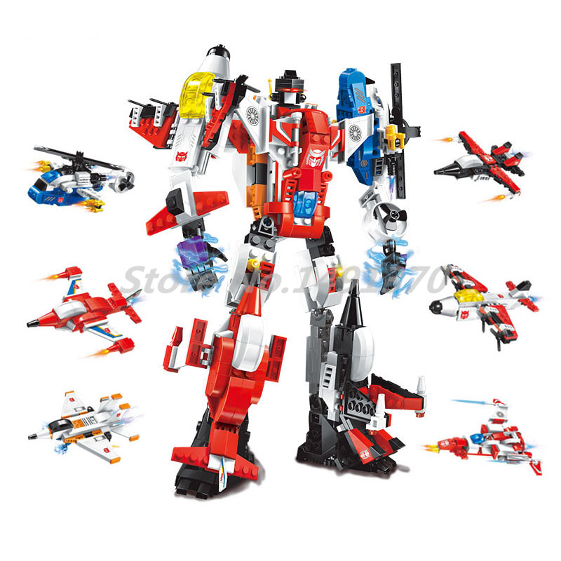 Stacking Blocks Aircraft Building Blocks Enlighten 1405 Transform Helicopter Plane 6in1 Bricks Educational Toys For Children city marriage room enlighten 613pcs 1129 wedding bridegroom building blocks bricks educational toys for children
