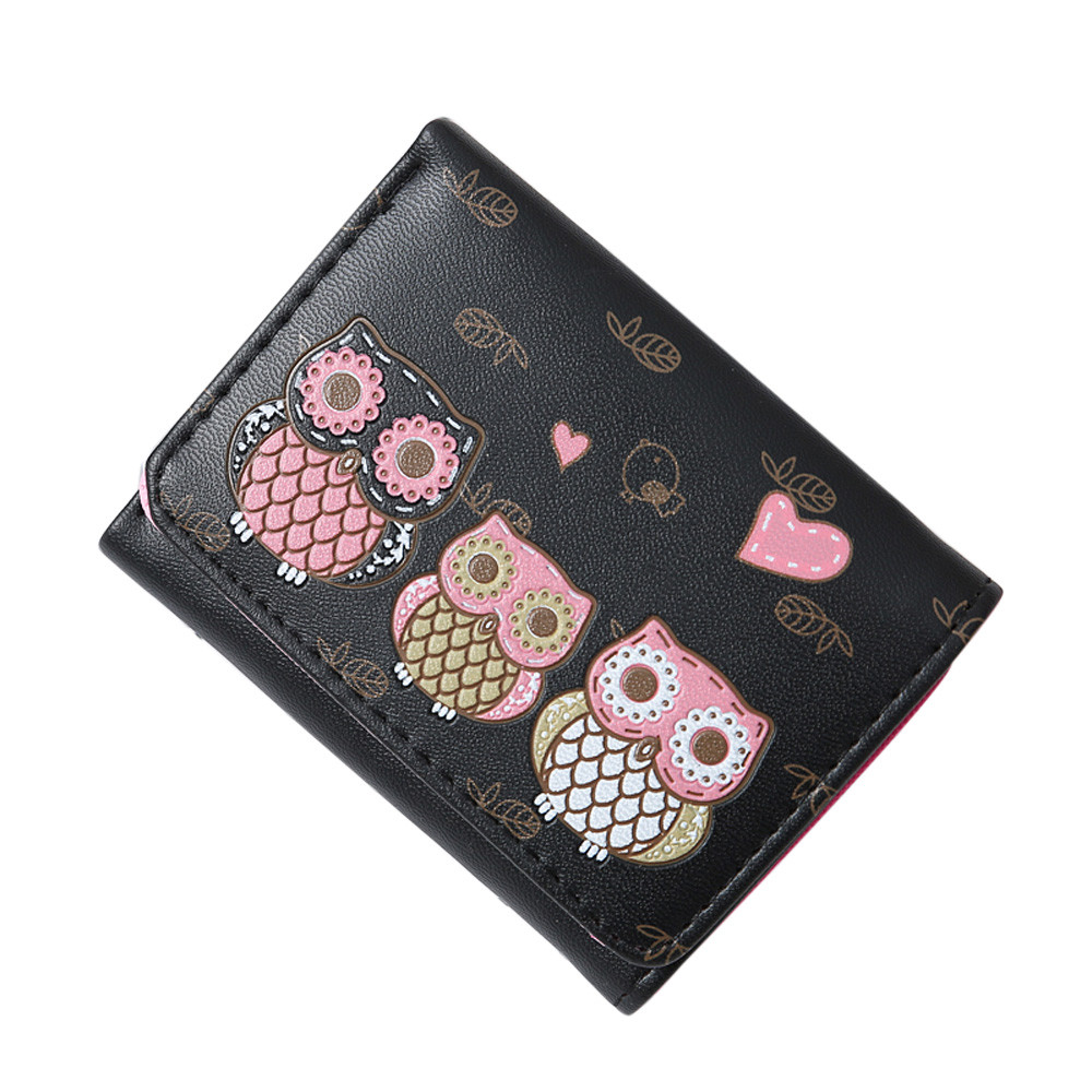 Women Short Wallet Retro Owl Printing Coin Purse Card Holders Handbag wallet female luxury purse women wallets ladies wallet