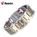 Rainso Stainless Steel Magnet Bracelet Men Jewelry Bio Energy Bracelets & Bangles Gold plated Healthy Bracelet JEW01432