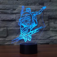 Fashion Slide Plate Molding Table Lamp 7 Colors 3D LED Street Art Skateboarding Nightlight Lamp Boy