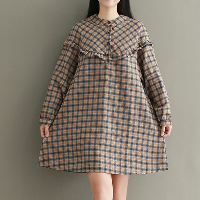 27ae224afe KYMAKUTU Batwing Sleeve Stand Collar Jurkjes A Line Loose Dresses Female  Plaid Casual Autumn Winter Cotton Linen Dress for Women