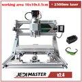 CNC 1610 + 2500 mw laser GRBL Diy mini máquina CNC máquina de gravação a laser de alta potência, 3 Eixos pcb máquina de trituração, máquina de Madeira Router