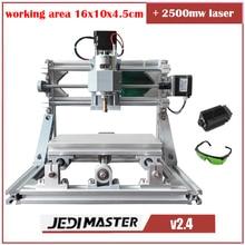 CNC 1610 + 2500 mw láser GRBL Diy mini máquina CNC máquina de grabado láser de alta potencia, 3 Ejes pcb fresadora, Madera Router