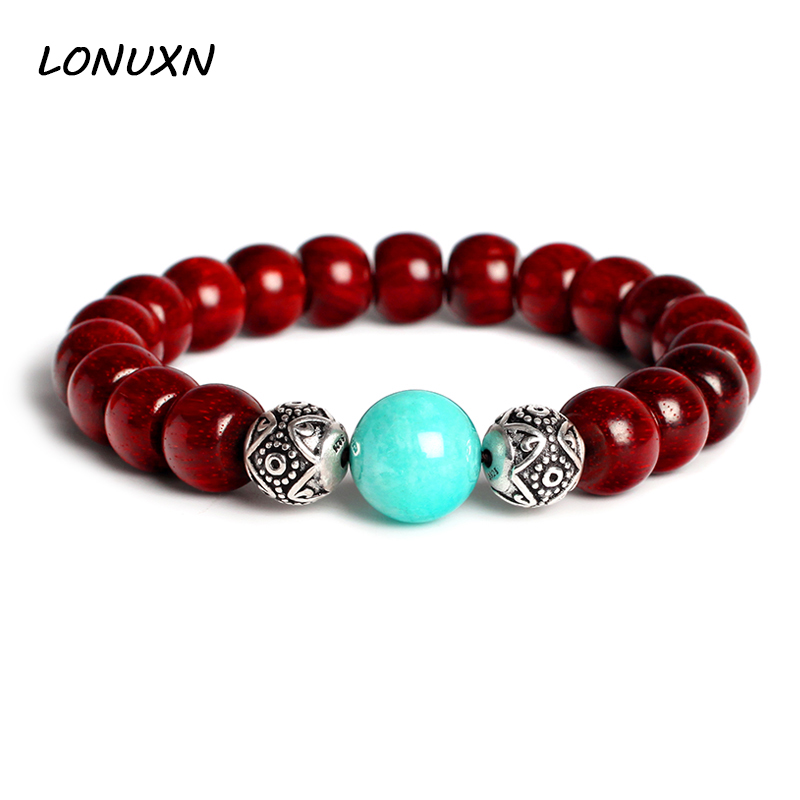 925 silver Natural stone amazonite Lobular Red Sandalwood Buddha Beads 10mm*8mm Bracelets Golden Star Old Material Jewelry genuine natural leaflets sandalwood bracelets rice buddha beads hand string multi layer wood bracelet fashion jewelry