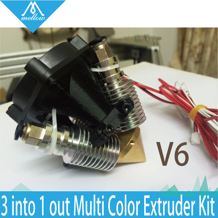 HOT! Til Diamond hotend / Kossel Extruder Fuld kit- V6 Messing Multi Color Dyse Hot End 3 IN 1 OUT 0.4mm For 1.75mm Filament