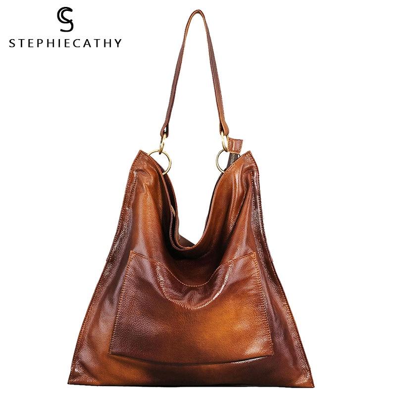 SC Retro Spray Genuine Leather Women Hobo Messenger&Handbags Front Pocket Large Capacity Vintage Shoulder Bags Ladies Tote