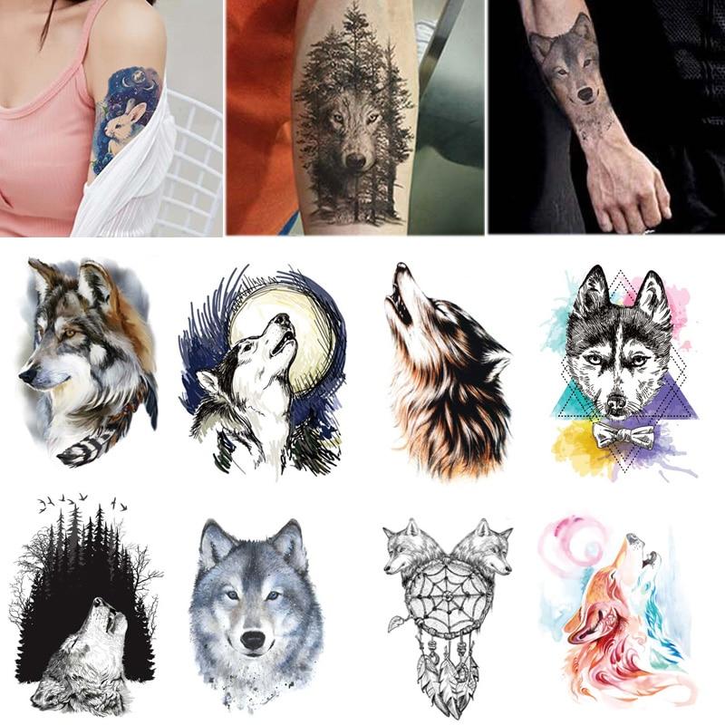 Sale 210*150mm Waterproof Temporary Tattoo Stickers Arm Fake Stickers Women Men Wolf Animal Tattoos Body Art Personality