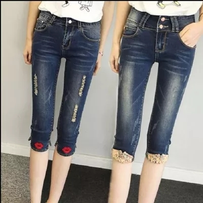New Summer Fashion Jeans Capris Short Denim Pants Female Sexy Casual Stretch Pencil Pants Blue High Waist Skinny Jeans Y254 jeans woman 2017 korean fashion skinny denim pants high waist double button sexy stretch capris trousers jeans mujer