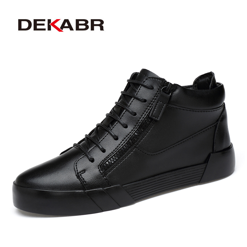 DEKABR Men Boots New Fashion Style Waterproof Men Winter Shoes Men Increase 5cm Snow Boots Casual Warm Ankle Boots Size 37~44 bimuduiyu new arrival fashion handmade super warm autumnwinter men shoes casual british style ankle boots wipe color snow boots