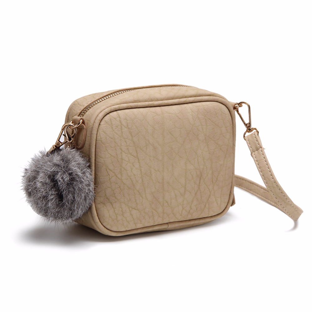 2018 New Korean Style Fashion Womens Vintage Solid Color Two-shoulder Bag PU Small Flap Bag Mini Pompon Crossbody Pinky color