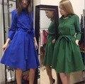 Горячие продажи женщин dress новая осенне-зимний 2017 моды случайные женщин О-Образным Вырезом Среднего рукав сплошной цвет dress