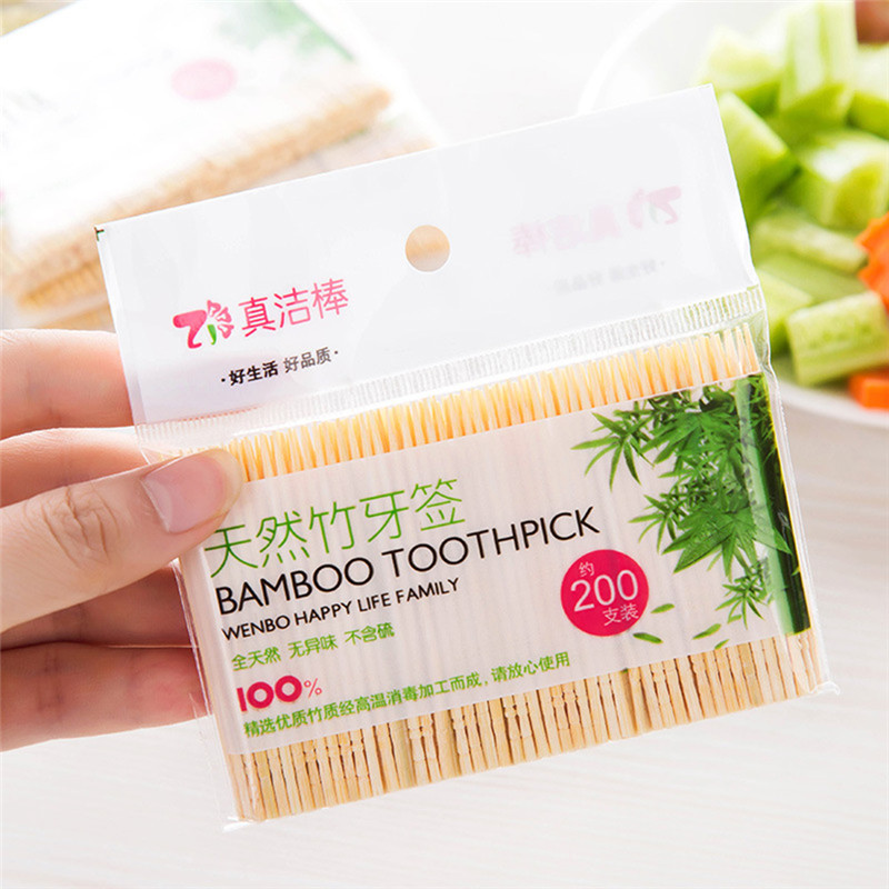 200PCS/ Bag Disposable Toothpick Wood Dental Natural Bamboo Toothpick for  Home Restaurant Hotel