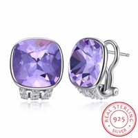 LEKANI Crystals From SWAROVSKI New Square Shaped Stud Earring S925 Silver Piercing Vintage Fashion Jewelry For Women Girls Gifts