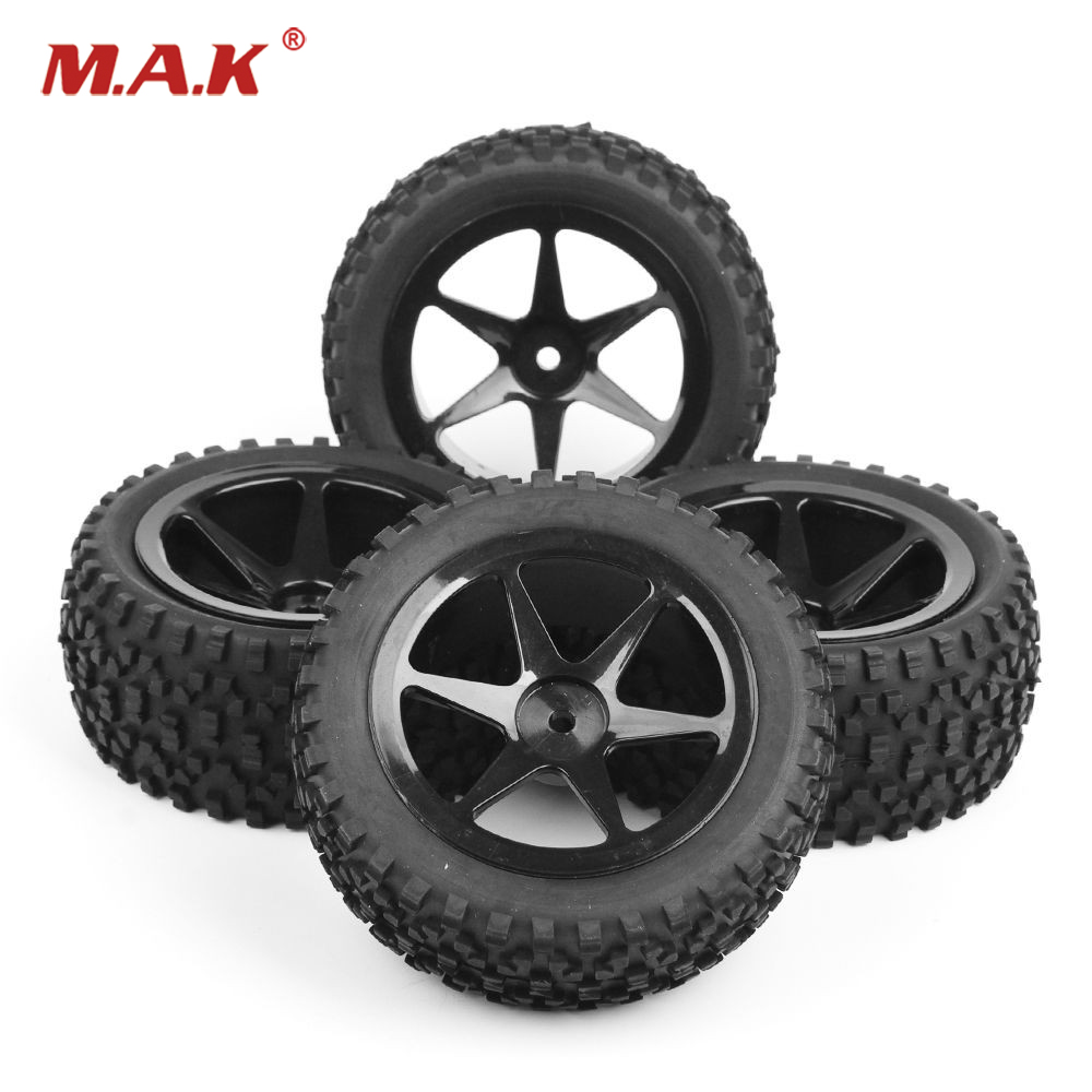 4pcs/set Hex 12mm 1/10 RC Off-Road Buggy Car Tires Front&Rear Tyre Wheel Rim 25036+27011 Fit RC 1:10 Buggy Car Toys Accessories