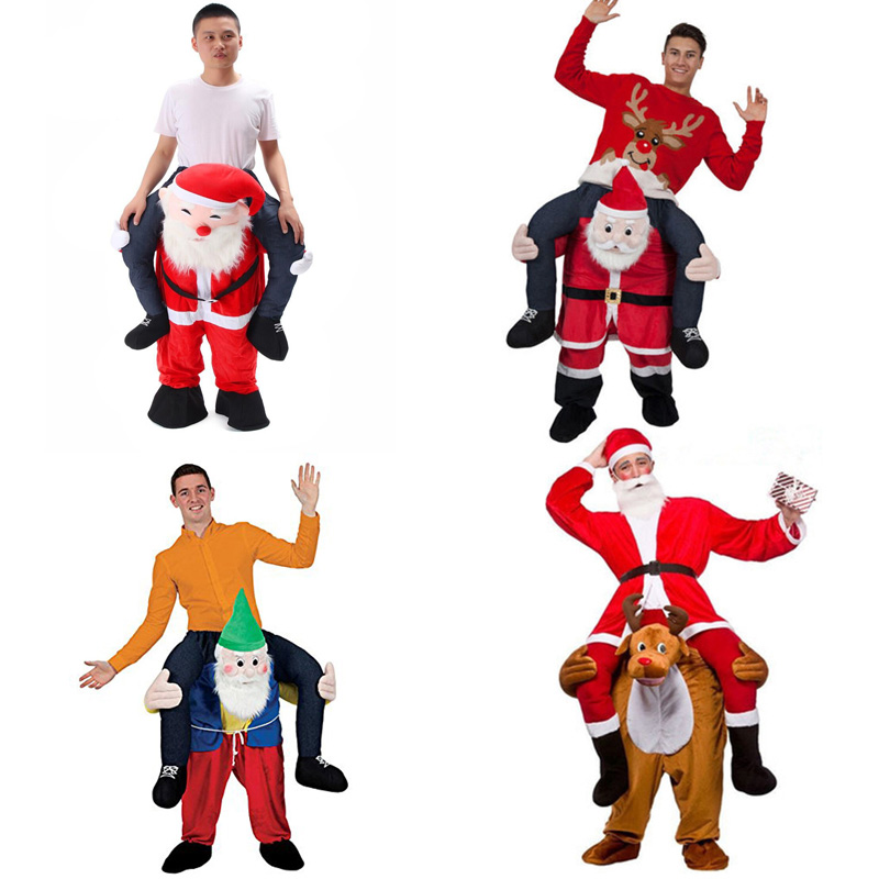 Santa Claus Novelty Ride on Me Costume Carry Back Funny Animal Horses Riding Pants Oktoberfest Halloween Party Cosplay Clothes adult child novelty ride on me mascot costumes carry back fun pants christmas halloween party cosplay clothes horse riding toys