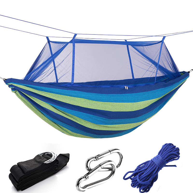 Thicken Canvas Hammock Camping With Mosquito Outside Prevent Rollover Double Swing Hanging Chiar Bed Red Stripe Leisure Hammoks