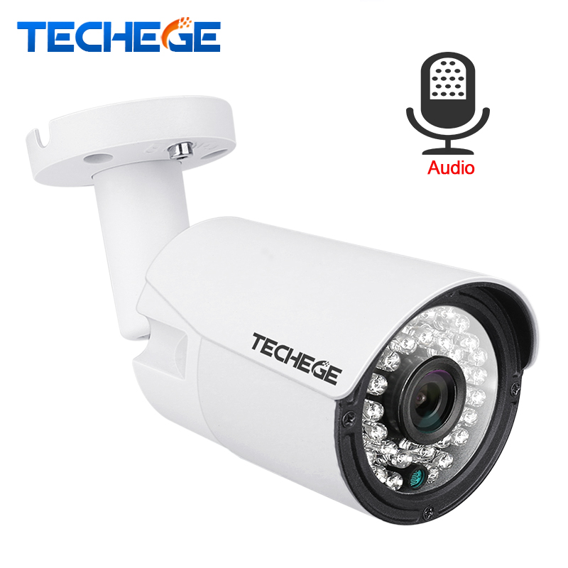 Techege 2.0MP Audio POE IP Camera Night Vision Waterproof IP66 ONVIF Motion Detection Xmeye IP Cam DC 12V 48V PoE Optional