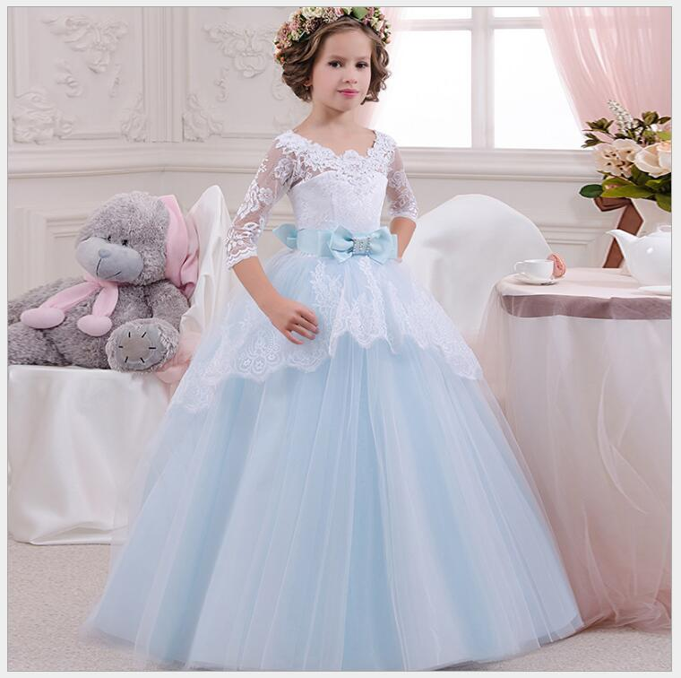 teenager girl ice blue lace sleeve party dress victory fashion flower girls tiered maxi dress baby girls v neck birthday dress