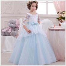 0b02029d24 Adolescente azul hielo vestido de fiesta de la manga del cordón Victoria  moda flor niñas gradas maxi vestido niñas cumpleaños de.