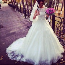 Hot Selling Lace Appliqued Bodice White High Neck Wedding Dresses 2016 Tulle Bridal Gowns With Zip
