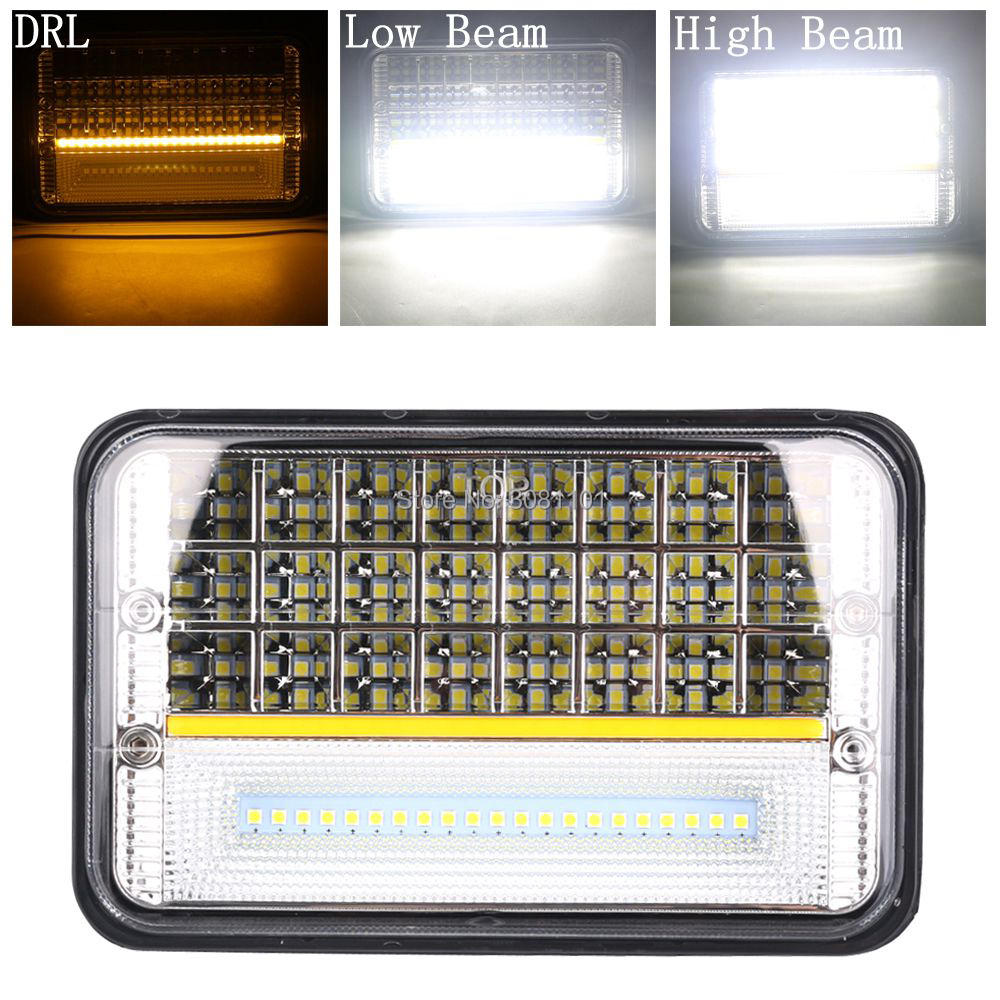 4x6 5inch Rectangular led projector Headlight Hi/Lo Beam DRL for SUV, ATV, UTV, 4 x 4, Truck, Cars