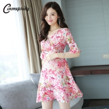 Summer Women Chiffon Dress Floral Print Cute V-neck Flared Sleeves Thin Pink Orange Colors Above-knee Length High Waist Slim