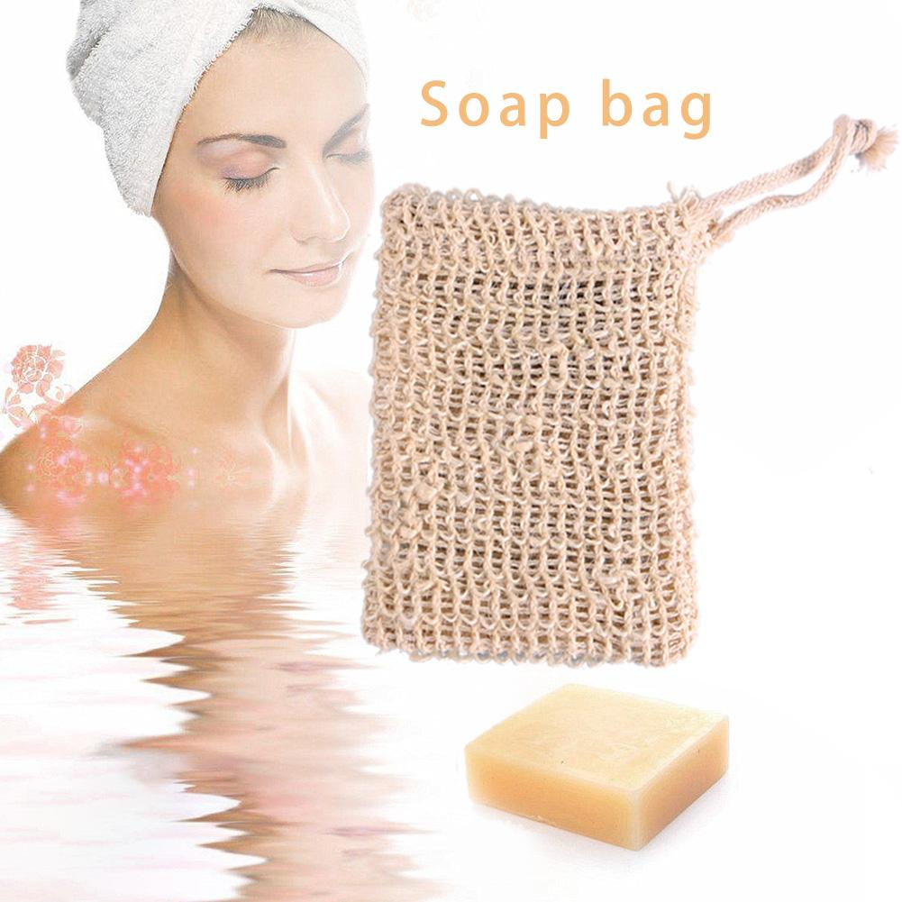 5pcs Soap Bag Exfoliating Soap Saver Pouch Foaming Sisal Soap Pouch Saver Massage Organic Soap Bags With Rope Natural Portable #