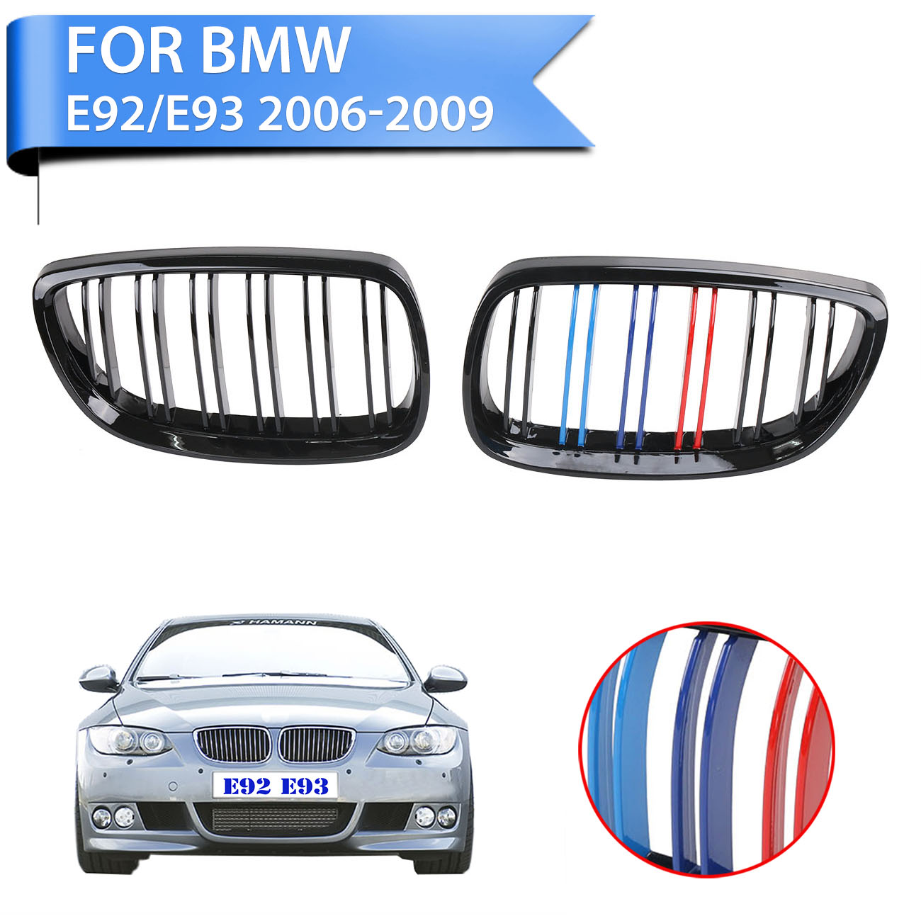 2x Front Kidney Grilles Double Line Slat Grill For BMW 2007 - 2010 E92 E93 328i 335i M3 2DOOR Gloss Black M Colored #P336 стоимость