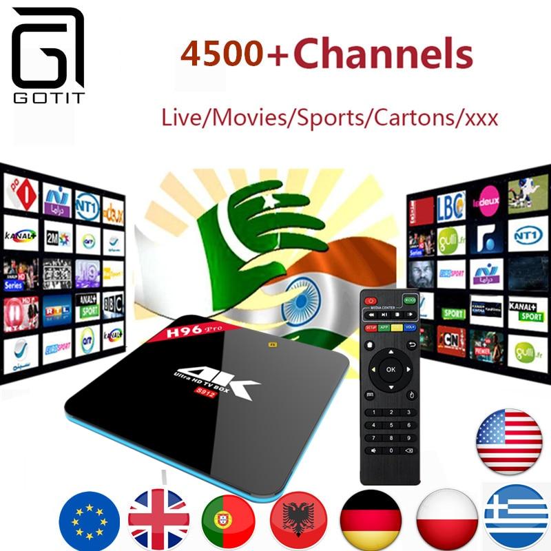 Indian Pakistan IPTV H96PRO TV Box 4500+  Germany Netherlands Portugal Italy Greece EX-YU Swedish Adult XXX Europe IPTV iptv evpad pro