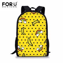 FORUDESIGNS Schoolbags Primary School Girls Children Cartoon Banana Bag Rainbow Student Bookbag Women Travel Backpacks