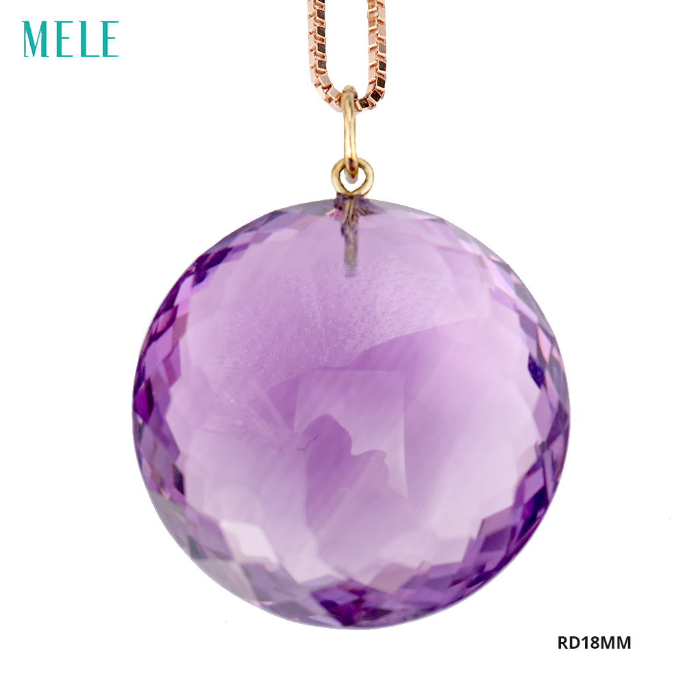 MELE Natural amethyst real 18k gold pendant, big round 18mm*18mm,semi-precious stone, fashion ladies pendant, trendy and popular mele natural shell necklace pendant for women fashion meteor collar trendy and popular manual work handmade
