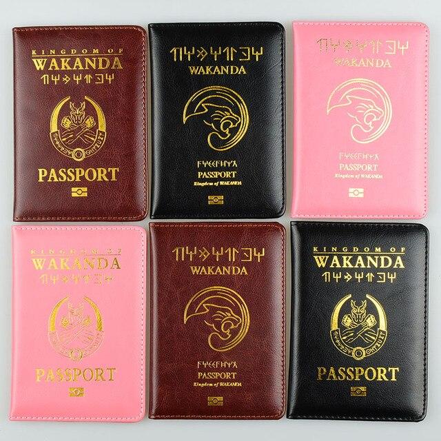 DIKEDAKU אופנה זוג Wakanda דרכון כיסוי נשים גברים פנתר רך עור מפוצל דרכון מחזיק נסיעות מכסה להגן דרכון